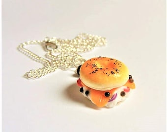 Food Jewelry Bagel Necklace, Lox Bagel Pendant,  Miniature Food Pendant, Mini Food Jewellery Food Necklace, Bagel Charm Bagel Jewelry Kawaii