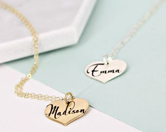 Solid heart personalized name necklace • Personalized heart necklace • Sterling Silver or Gold-filled option • Gold kids name necklace