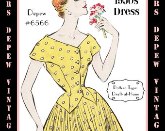 Vintage Sewing Pattern 1950s Ladies' Day Dress in Any Size - PLUS Size Included - Depew 6566 -INSTANT DOWNLOAD-