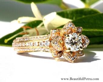 UNIQUE Flower Rose Diamond Engagement or Right Hand Ring - 2.00carat - 14K yellow gold - 14k White gold - 14K rose gold - wedding - fL01YG