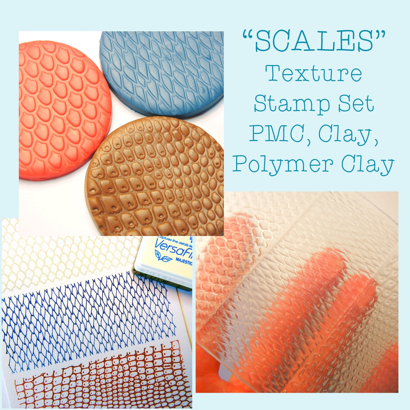 Texture Mat Texture Stamp Set Scales For Clay Pmc Polymer