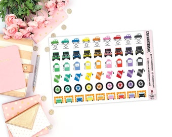 Car Maintenance || 54 Planner Stickers, Car Planner Stickers, Item Stickers, Stickers For Planners, Car Care Stickers, Mechanic Stickers