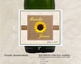 Sunflower Favor, Wedding Label, Sunflower Wedding Decor, Bridal Shower Label, Summer Wedding Favor, Burlap, Vintage Wedding (Set of 24)(LSF)
