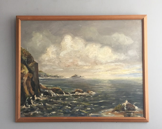 vintage oil on board seascape