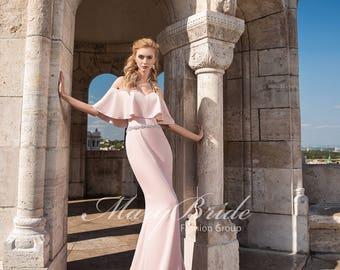Peplum Blush Trumpet Evening Gown