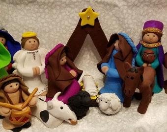 Polymer Clay Nativity 4 Inches Tall