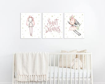 Bunny Nursery Decor, Bunny Nursery Wall Art, Bunny Nursery Art, Sweet Dreams Print, Baby Girl Nursery Decor, Pink and Grey Nursery