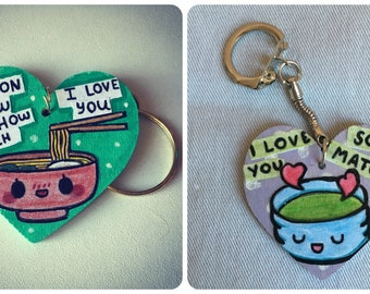 Heart shaped Keychain Japanese food, crafted by hand.