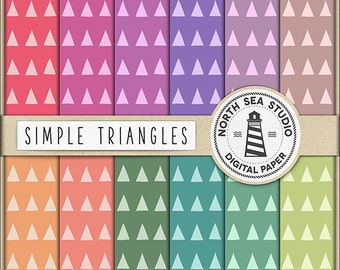 BUY5FOR8 Triangle Digital Paper Triangles Paper Colorful Backgrounds Digital Scrapbooking 12 JPG 300 dpi Files Download