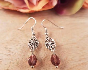 Small Silver Crystal Teardrop Earrings | bead earrings, dangle earrings, tiny earrings, crystal earrings, drop earrings, small earrings