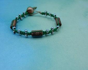 Macrame Hemp Acrylic Bead Bracelet Silver Green and Brown