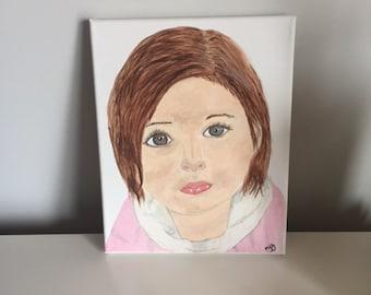 Original Acrylic Painting, Sweet Little Girl