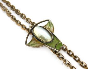 Antique Art Nouveau Jugendstil Plique-à-jour Slider Pearl Pendant Necklace