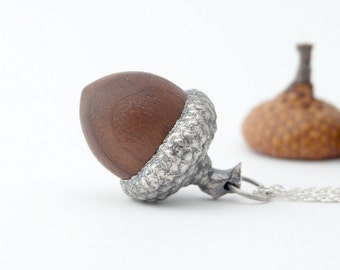 Acorn necklace - sterling silver and wood necklace