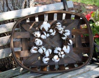 Cotton wreath, Mini Cotton boll wreath, Rustic Tobacco basket, Fixer Upper Style, Farmhouse wreaths, Farmhouse decor, Rustic Country