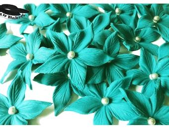 Teal Tapering Sugar Flowers Set Silver Balls Edible Cake Cupcake Topper