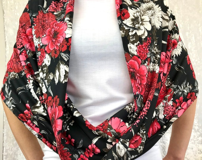 Red Floral Double-Decker Infinity Scarf by So-Fine