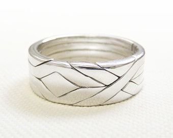 SOLID - Unique Puzzle Rings by PuzzleRingMaker - Sterling Silver or Gold - 4 Bands