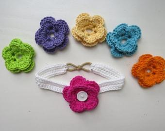 Interchangeable Flower Crochet Headband, White Cotton Headband with 6 Interchangable Flowers, Baby to Adult Sizes, Crochet Accessories