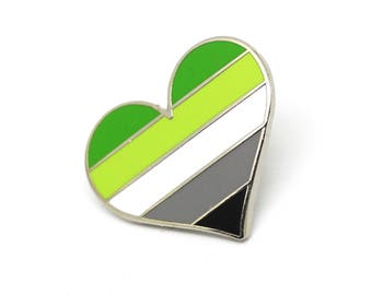 Aromantic pride pin, gay lapel pin, Aromantic flag pin, heart enamel pin, gay decoration, Lgbtq community