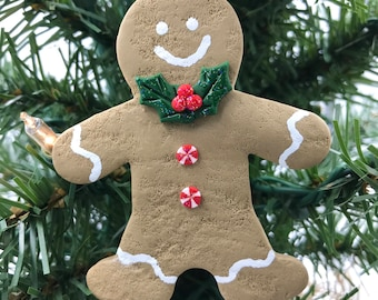 Gingerbread Man Polymer Clay Christmas Ornament