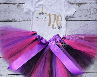 Unicorn First Birthday Tutu Outfit- Cake Smash Outfit- 1st Birthday Outfit- Unicorn Birthday- 1st Birthday Outfit- One- Unicorn Party