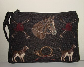Equestrian Horse and Hound Tapestry Large Cosmetic  Clutch