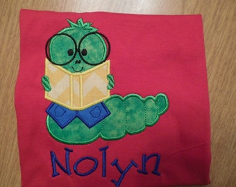 School Bookworm Reading Applique
