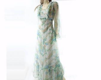 70s Maxi Dress Boho Maxi Dress 70s Prom Dress Blue Floral Dress 1970s Maxi Dress Floral Maxi Dress Chiffon Dress xs