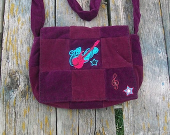 Purple Red Recycled Corduroy Crossbody Purse Guitar Patch Long Strap Rock N Roll Ready To ship