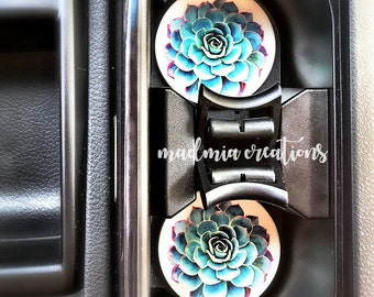 Car Coasters {Set of 2: Floral Cactus, Succulent, White Teepee, Black Teepee}