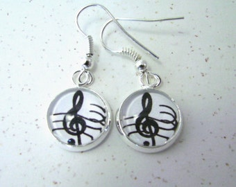 TREBLE CLEF Petite Silver Dangle Earrings -- Joyful treble clef with staff bars,  Earrings for musicians and music lovers