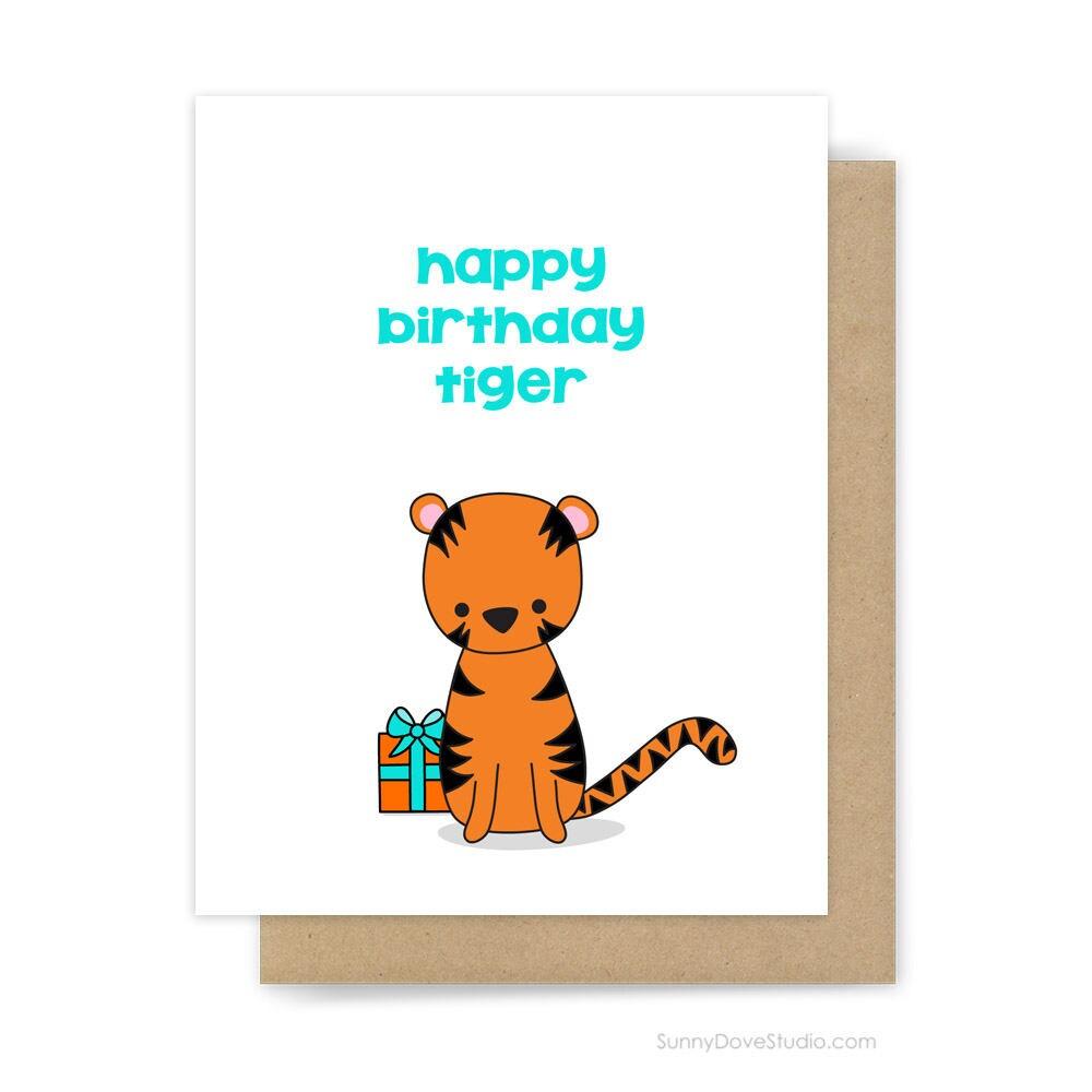 Funny happy birthday card boyfriend husband him fun tiger pun zoom kristyandbryce Choice Image