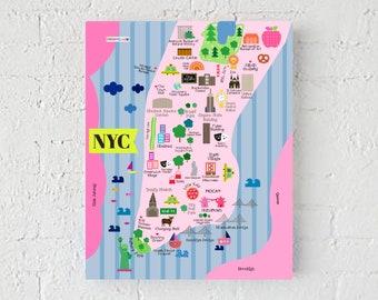 New York City Map, NYC Map Art Print, Wall Print, Wall Decoration, Print The Big Apple, NYC Cute Map