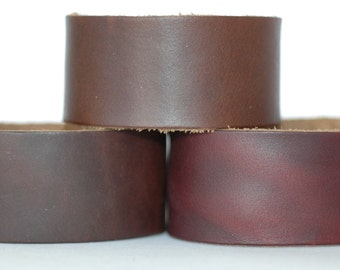 Wholesale Leather Cuffs- Oil Tanned Wristbands- 3pk Blanks- Genuine Leather
