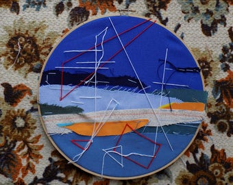 """Abstract Landscape // Patchwork and Hand Embroidery in a 10"""" Hoop"""