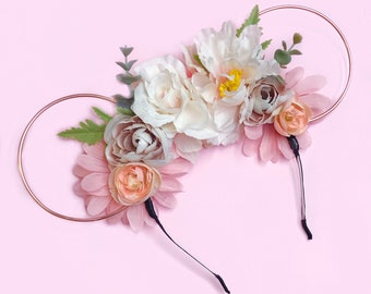 Pastel Pink Flower Crown and Rose Gold Wire Mouse Ears Headband