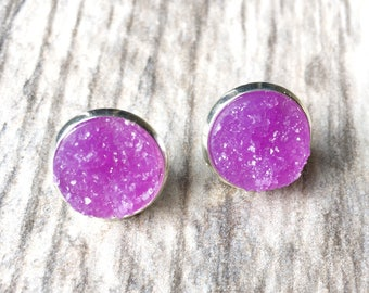 Purple Druzy Earrings,  Resin Druzy Earrings, Gemstone Earrings, Druzy Stud Earrings, Druzy Jewelry