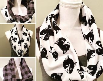 Black and White Cat and Plaid Reversible Flannel Infinity Scarf