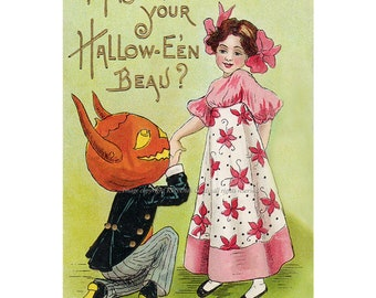 Halloween Demon Card - Pumpkin Head Boyfriend and Woman Greeting Card