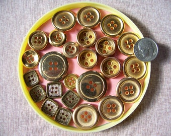 Lot of 25 Vintage Plastic Gold Buttons Sew Thrus Craft Button Lot