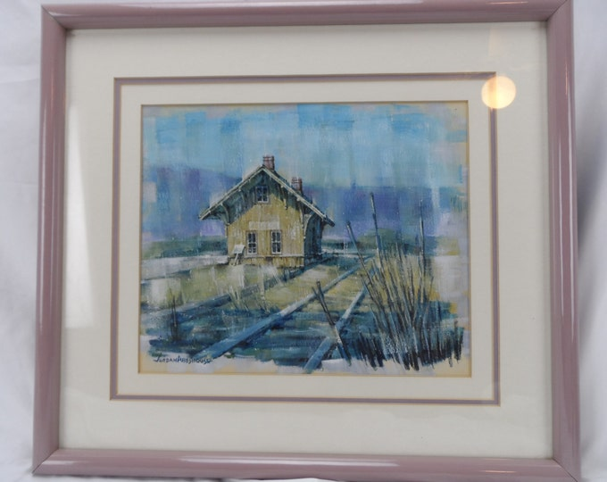 Fine Art, Watercolor with Whitewash, Jordan Abeshouse 1923-89 Train Depot
