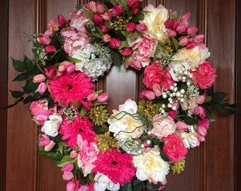 Spring Wreath, Spring Wreaths, Big Pink Daisy Wreath, Wreaths for Front Door, Gift for Mom, Front Door Wreath, Peony Wreath, Tulip Wreath