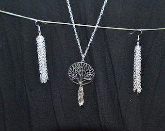 Tree of life necklace and waterfall earrings set