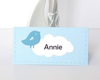 Ensemble de 10 marque-places pour baptême/anniversaire garçon thème oiseau coloris bleu personnalisables