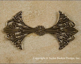 Victorian Filigree Stamping in Antiqued Polished Brass (item 604 AG) - 4 Pieces