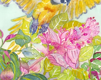 Cortorra Volando and  Flowers, Archival Print, by Michelle Kogan, Art & Collectables, Children's Art, Giclee, Watercolor, Birds, Painting