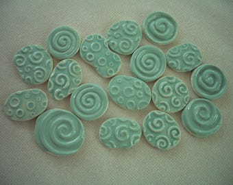 17SF - 17 pc JADE Stamped Circles - Ceramic Mosaic Tile Set