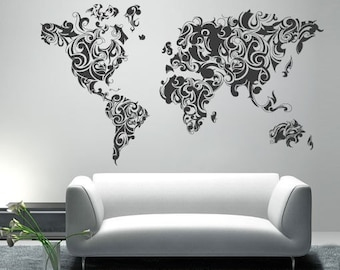 World map outlines wall decal continents decal large worldmap tribal decal large world map vinyl wall sticker world map wall sticker also available as poster gumiabroncs Image collections