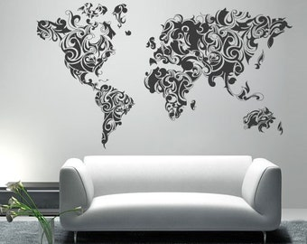 World map outlines wall decal continents decal large worldmap tribal decal large world map vinyl wall sticker world map wall sticker also available as poster gumiabroncs Gallery